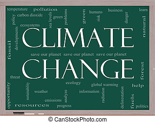 climat, concept, mot, tableau noir, changement, nuage