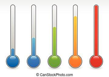 climat, elements., set., thermograph, vecteur, thermomètre, levée, concepts., température
