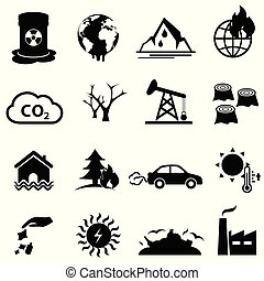 climat, ensemble, réchauffement planète, changement, icône