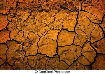 climat, terre, boue, desséché, séché, la terre, sécheresse, représenter, désert, changement
