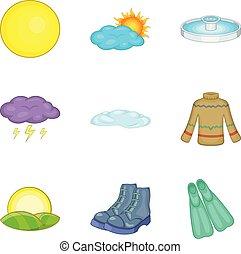Climate adaptation icons set, cartoon style - Climate...