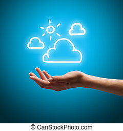 Climate and weather - Close up of human hand holding clouds