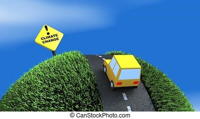 Climate change ahead concept animation. Matte