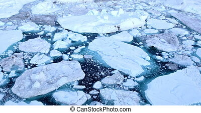 Climate Change and Global Warming - Icebergs from melting glacier in icefjord