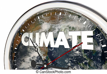 Climate Change Clock Earth Hands Ticking 3d Illustration