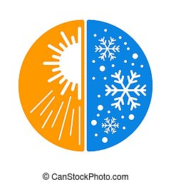 Climate change icon - sun and snowflake