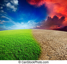 Climate change - Ecology landscape - climate change concept,...