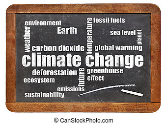 climate change word cloud on blackboard - climate change...