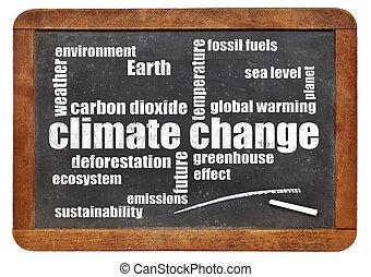climate change word cloud on blackboard