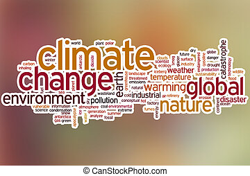 Climate change word cloud with abstract background