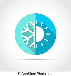 White climate sign in flat design with long shadow. Vector illustration. Simple climate icon on blue round button.
