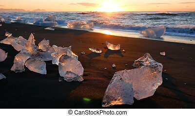 Climate ocean wave ice glacier sunset
