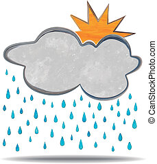 climate., wolke, regen, sonne