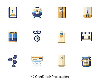 Climatic equipment flat color vector icons set - Symbols of...