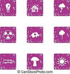 Climatic icons set, grunge style - Climatic icons set....