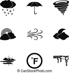 Climatic icons set, simple style - Climatic icons set....