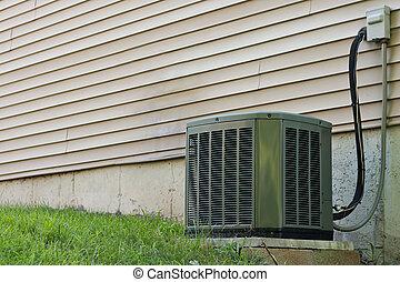 climatiseur, air, central, unité, résidentiel