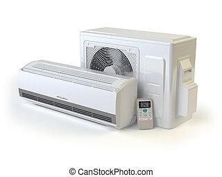 climatiseur, air, système, white., isolé