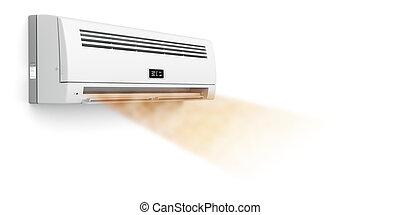 climatiseur, chaud, souffler, air