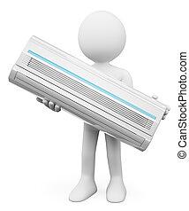 climatiseur, gens., blanc, 3d, air