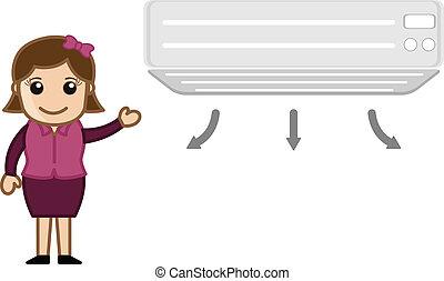 climatiseur, girl, vecteur, projection, air