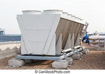 climatiseur, industriel, toit, air
