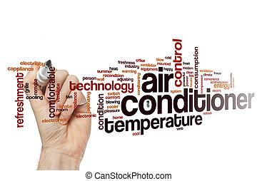 climatiseur, nuage, mot, air