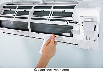 climatiseur, personne, gros plan, nettoyage, air