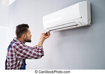 climatiseur, réparateur, réparation, air