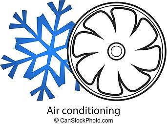 climatiseur, vecteur, business, air