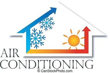 climatiseur, vecteur, conception, air