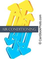 climatiseur, vecteur, flèches, air