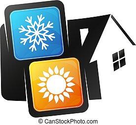 climatiseur, vecteur, maison