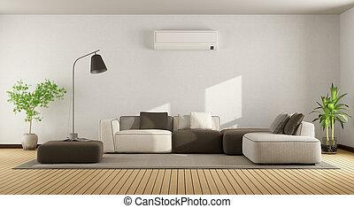 climatiseur, vivant, air, salle, sofa