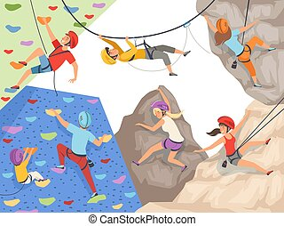 Climb characters. Extreme sport cliff wall rocks and stones big rocky hills and mountains explore vector sportsmen male and female