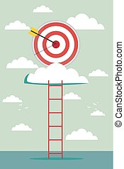 climb for target over cloud, business success concept ...