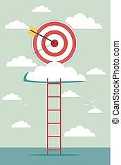 climb for target over cloud, business success concept cartoon vector illustration