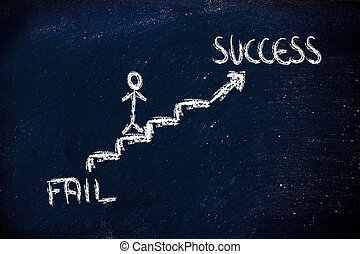 climb to individual success - metaphor design on blackboard,...
