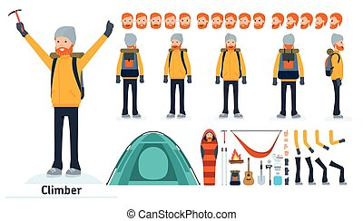Climber character creation set. Climber, tourist. Icons with...