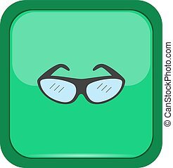 Climber eyeglasses on a green button