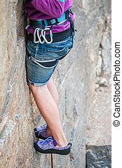 Climber feet close-up
