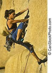 climber., femme, rocher