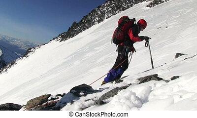 Climber go to the mountain - ALTAI , RUSSIA-MAY 2015: Iiktoo...