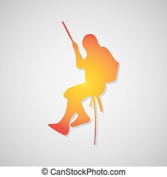climber Icon with shadow in orange. Vector illustration