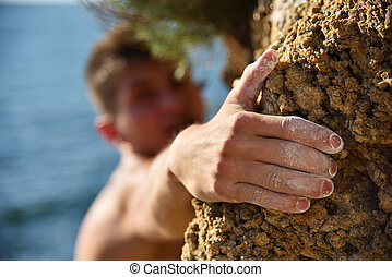 Climber making efforts to succeed