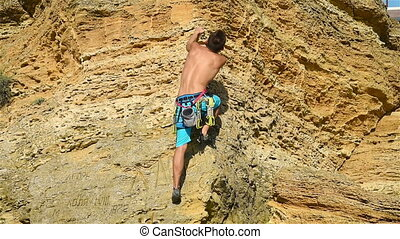 Climber Man - Extreme Climber With Equipment Climbs On A...