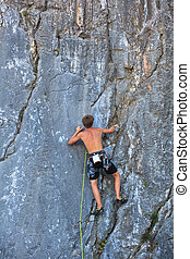 Climber on Sistiana rock, Trieste - Young Climber on ...