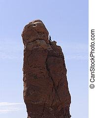 Climber on standing Rock