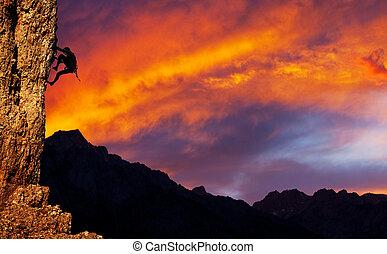 Climber on sunet
