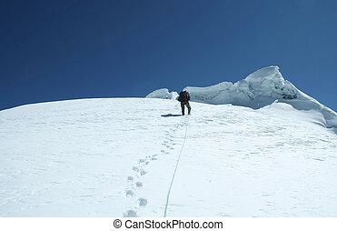 The climb on the Cordilleras mountain, Peru